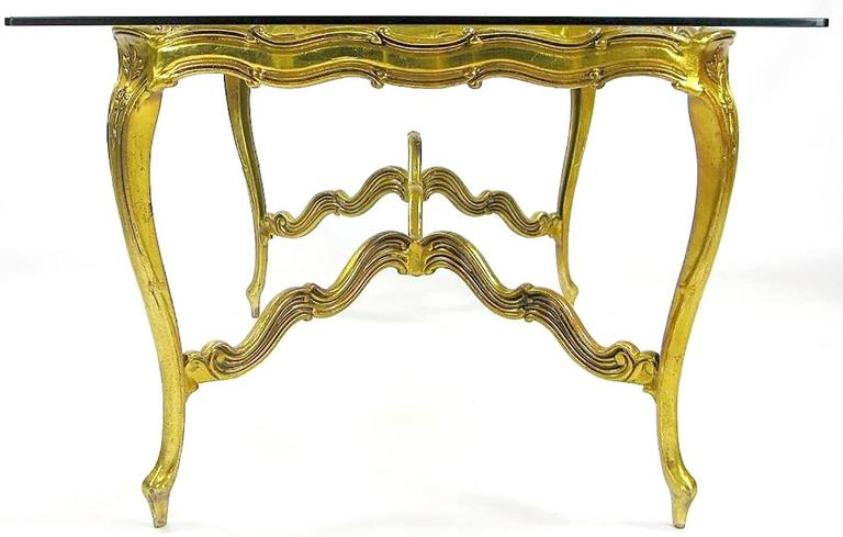 Mid-20th Century Gilt Aluminium and Glass Louis XV Dining Table For Sale