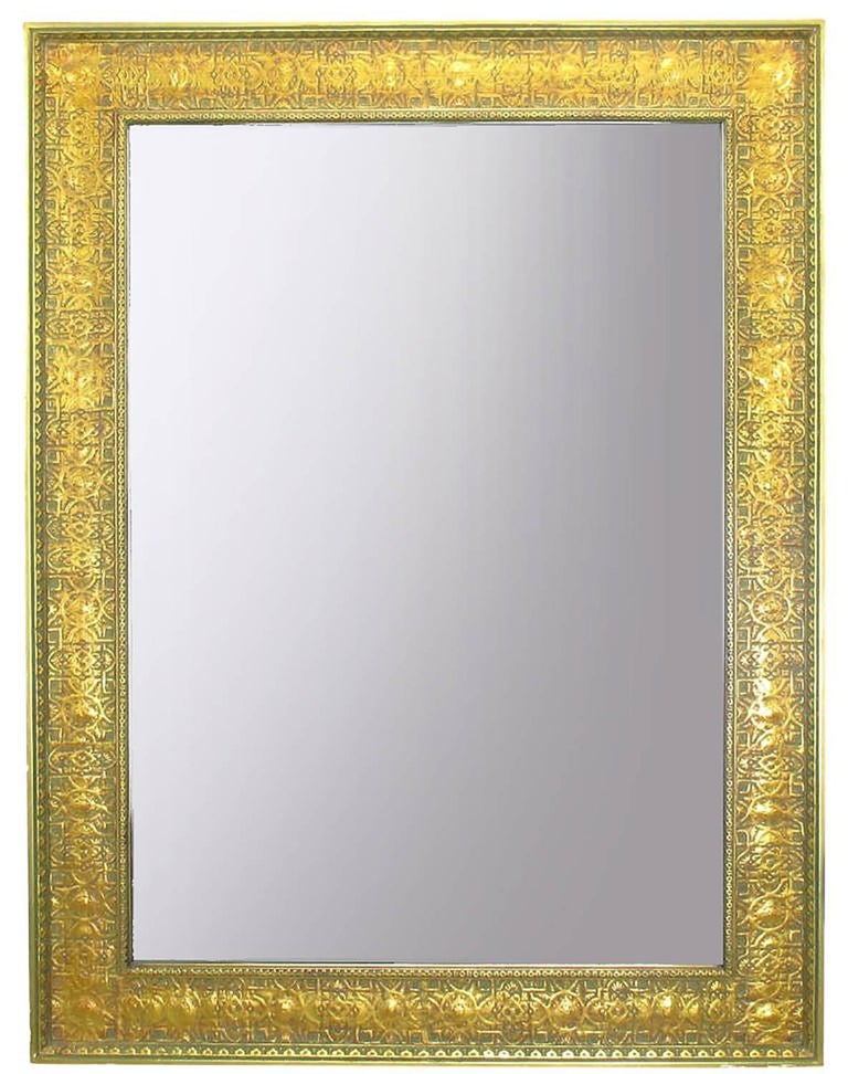 Egyptian Revival Pair of Large 1920s Egyptian Influenced Gilt Frame Mirrors