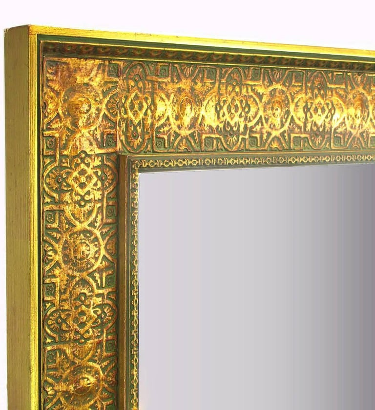 American Pair of Large 1920s Egyptian Influenced Gilt Frame Mirrors