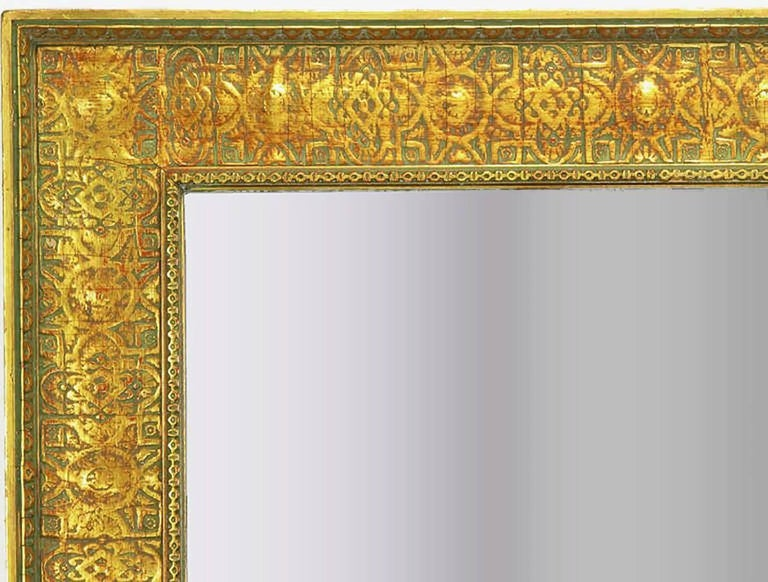 Pair of Large 1920s Egyptian Influenced Gilt Frame Mirrors In Good Condition In Chicago, IL