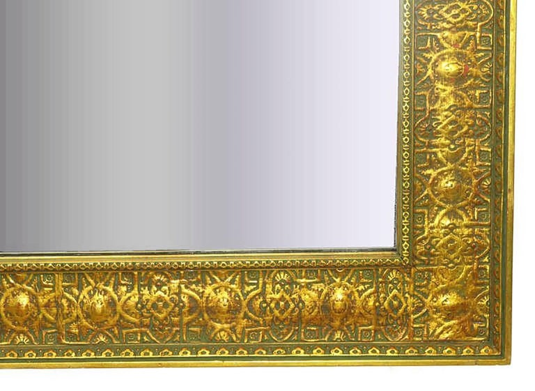 Gesso Pair of Large 1920s Egyptian Influenced Gilt Frame Mirrors