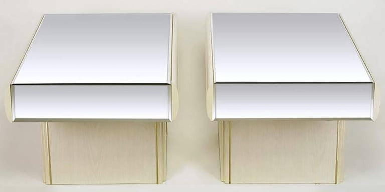 Pair of Italian White Glazed Oak and Mirror Cantilever End Tables 3