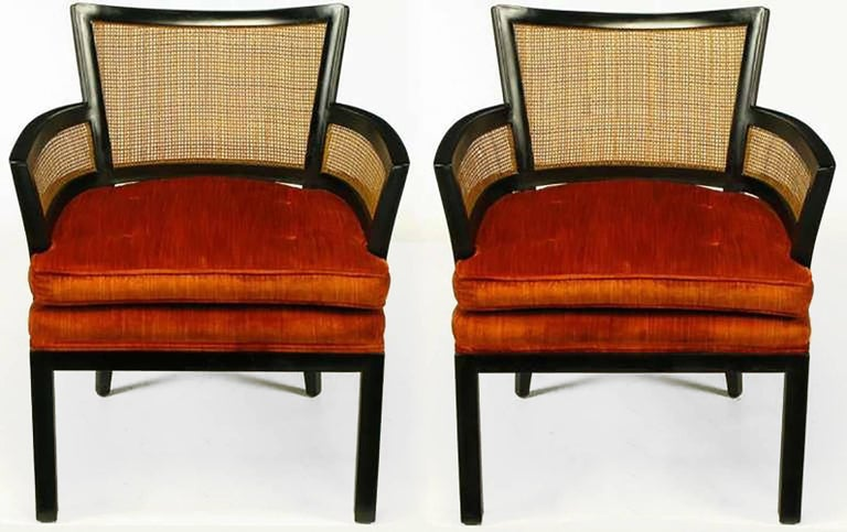 Mid-Century Modern Pair of Baker Ebonized Mahogany and Cane Button Tufted Armchairs For Sale