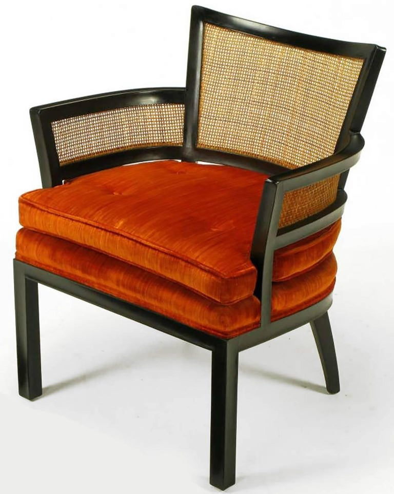American Pair of Baker Ebonized Mahogany and Cane Button Tufted Armchairs For Sale