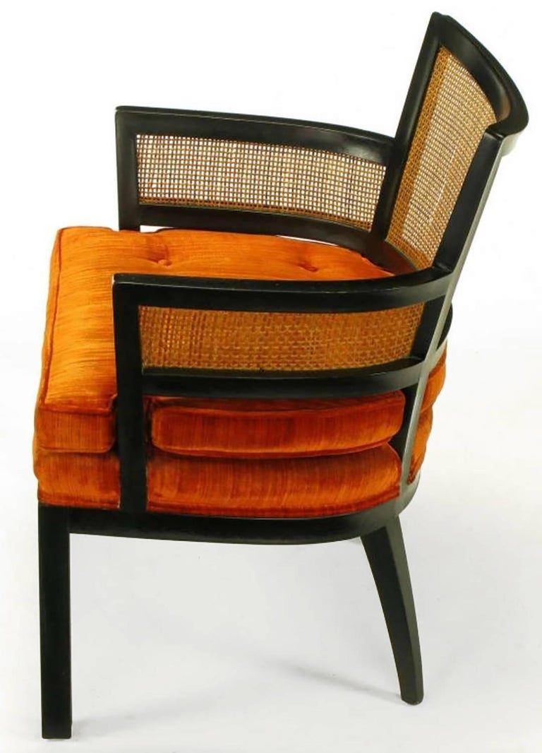 Pair of Baker Ebonized Mahogany and Cane Button Tufted Armchairs In Good Condition For Sale In Chicago, IL