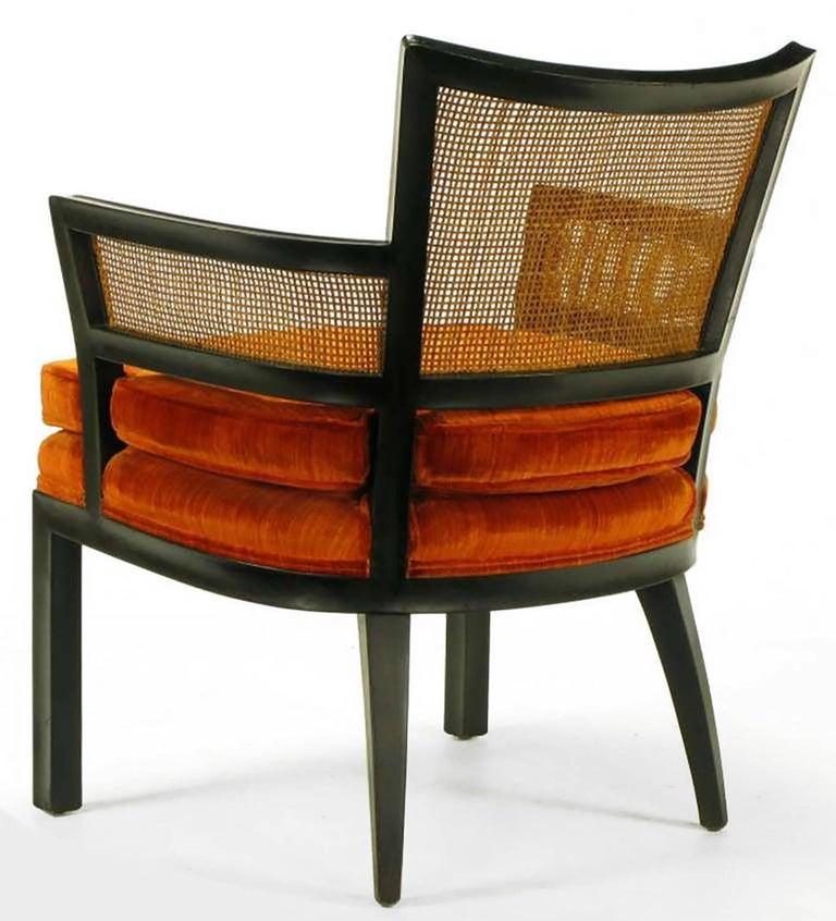 Mid-20th Century Pair of Baker Ebonized Mahogany and Cane Button Tufted Armchairs For Sale