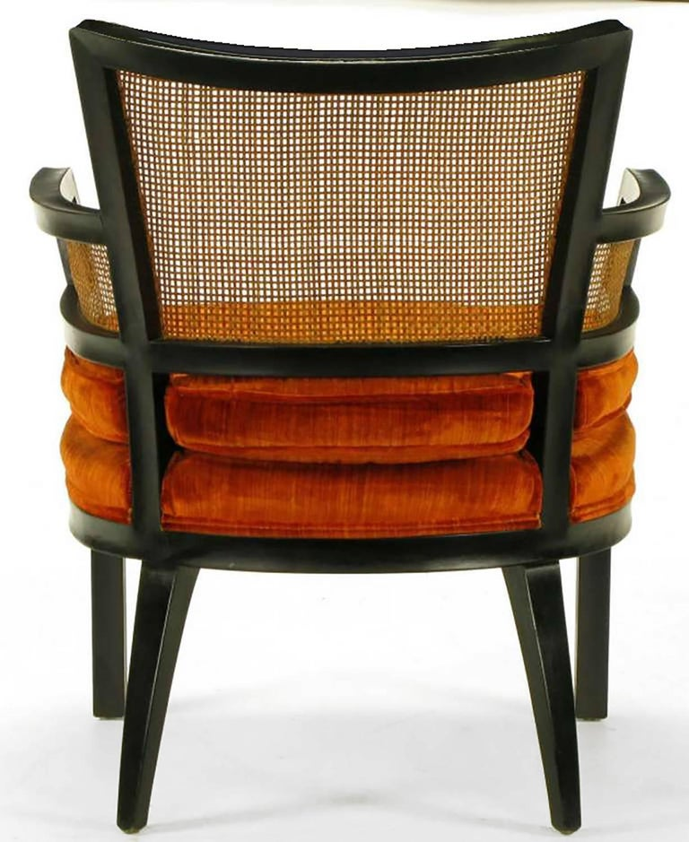 Velvet Pair of Baker Ebonized Mahogany and Cane Button Tufted Armchairs For Sale