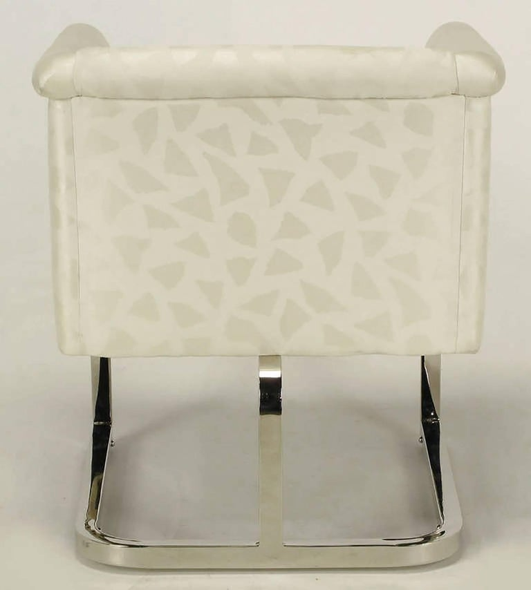 Pair of Milo Baughman Nickel and Ivory Glazed Cotton Print Club Chairs 8