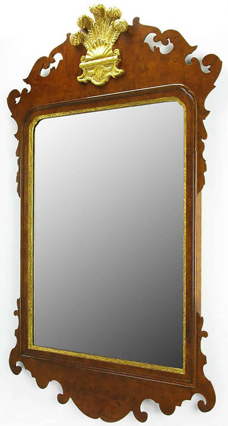 Chippendale Mirror in Burled Walnut with Gilt Plume Surmounter 2