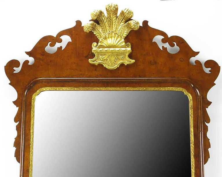 Chippendale Mirror in Burled Walnut with Gilt Plume Surmounter 3