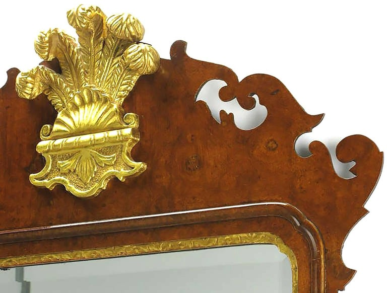 Chippendale Mirror in Burled Walnut with Gilt Plume Surmounter 4