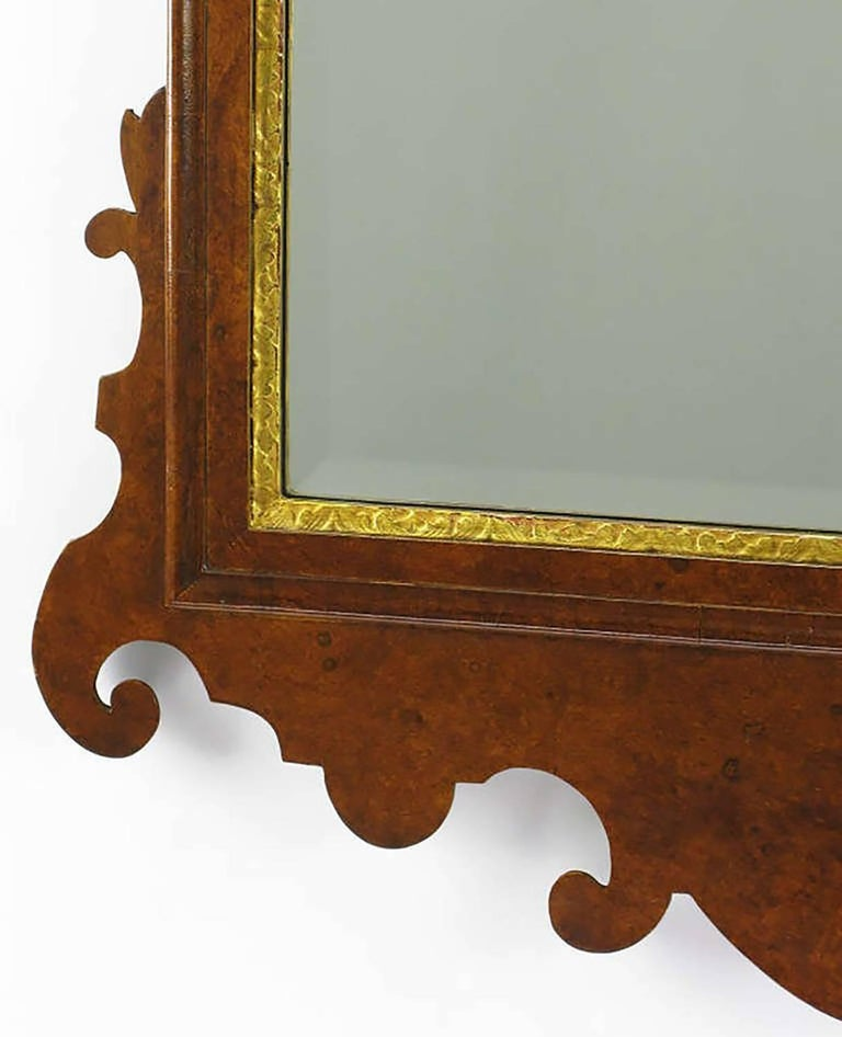 Chippendale Mirror in Burled Walnut with Gilt Plume Surmounter 5