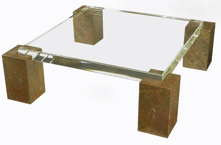 American Brazilian Red Marble Column Coffee Table with Thick Lucite Top For Sale