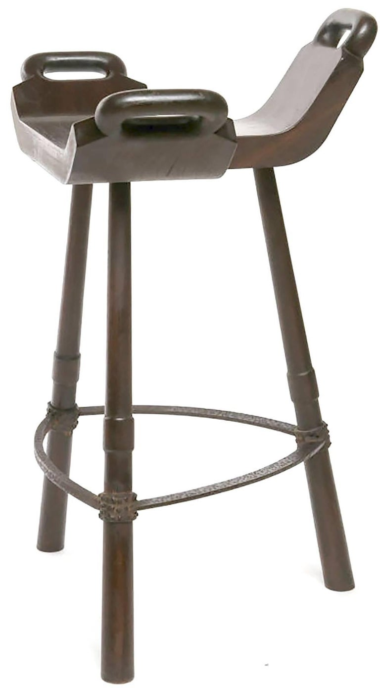 Pair of Primitive Asian Birthing Chair Inspired Bar Stools In Good Condition For Sale In Chicago, IL