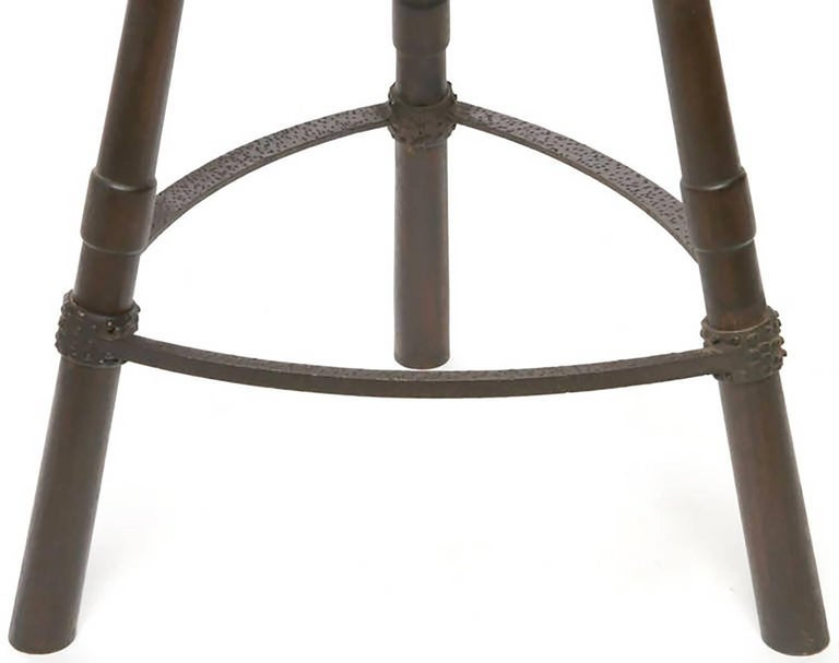 Pair of Primitive Asian Birthing Chair Inspired Bar Stools For Sale 1