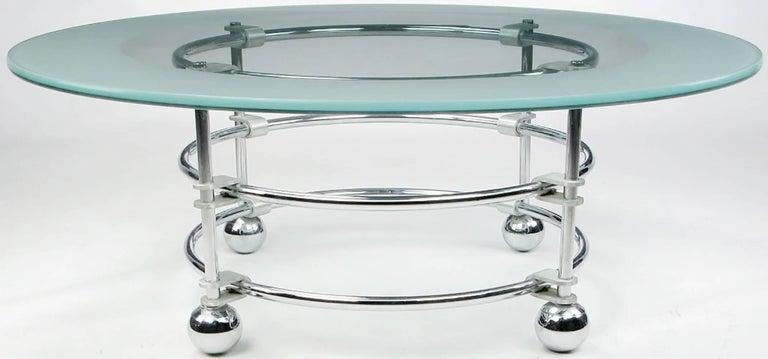 Jay Spectre Chrome, Aluminum and Glass Coffee Table In Excellent Condition For Sale In Chicago, IL