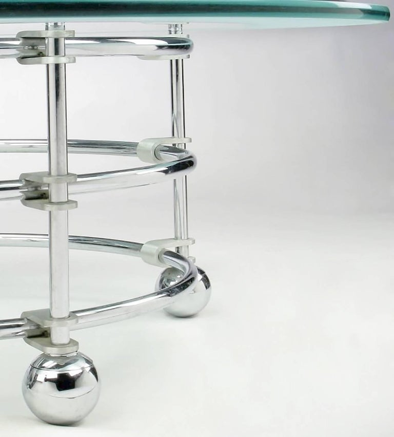 Late 20th Century Jay Spectre Chrome, Aluminum and Glass Coffee Table For Sale