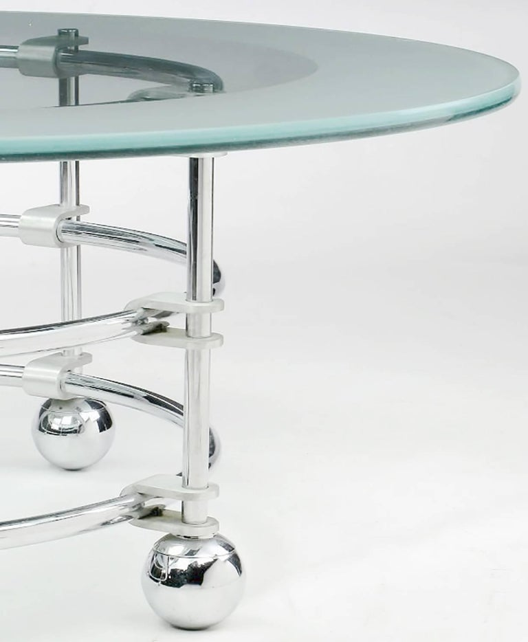 Jay Spectre Chrome, Aluminum and Glass Coffee Table For Sale 1