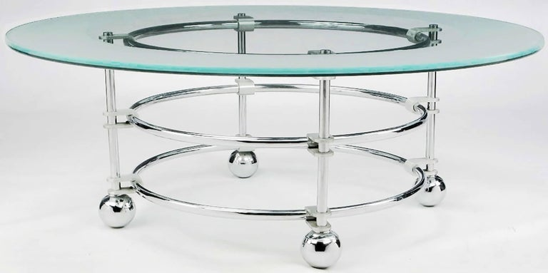 American Jay Spectre Chrome, Aluminum and Glass Coffee Table For Sale
