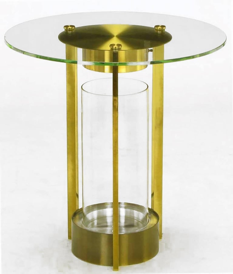 Fantastic Illuminated Brass And Glass Cylindrical End Table Dorothy Thorpe Attributed Home Interior And Landscaping Eliaenasavecom