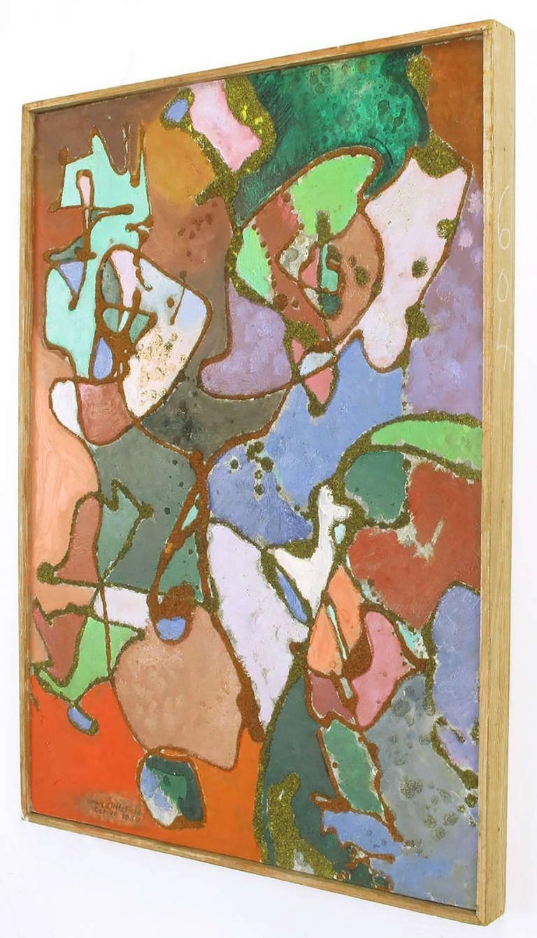 American William H Littlefield Abstract Mixed-Media on Board For Sale