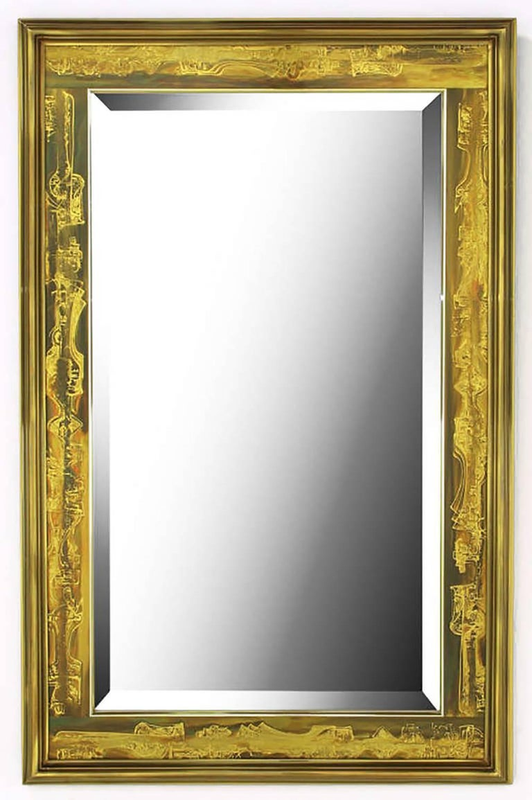 Beveled Mastercraft Bernhard Rohne Acid-Etched Frame Bevelled Mirror For Sale