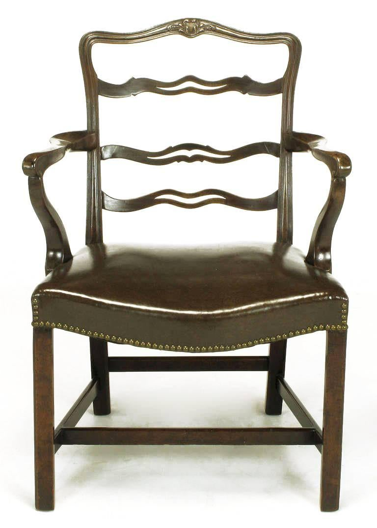 American Pair of Early 1900s George III Style Ribbon Back Armchairs For Sale