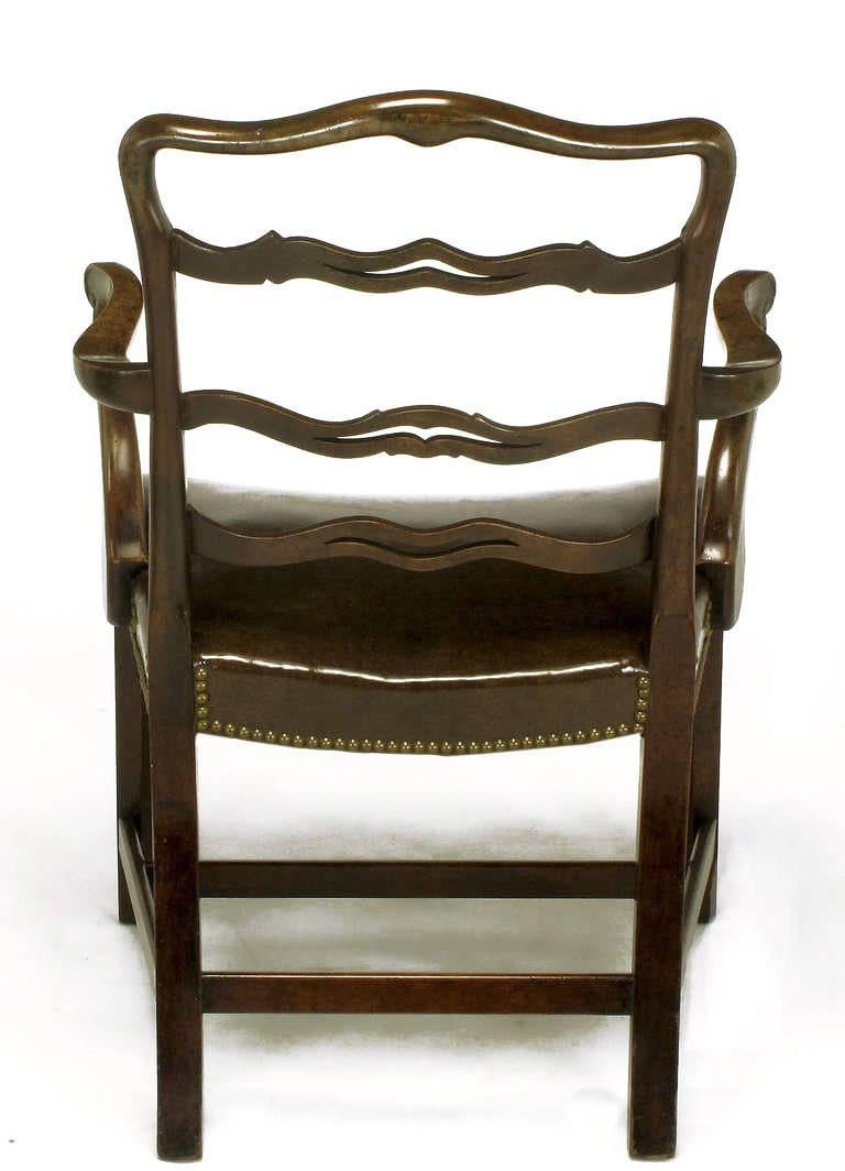 Walnut Pair of Early 1900s George III Style Ribbon Back Armchairs For Sale