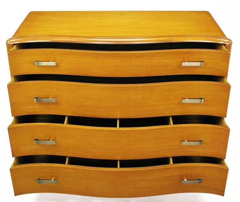 Mid-20th Century Art Deco Four-Drawer Bleached Mahogany Serpentine Front Commode For Sale
