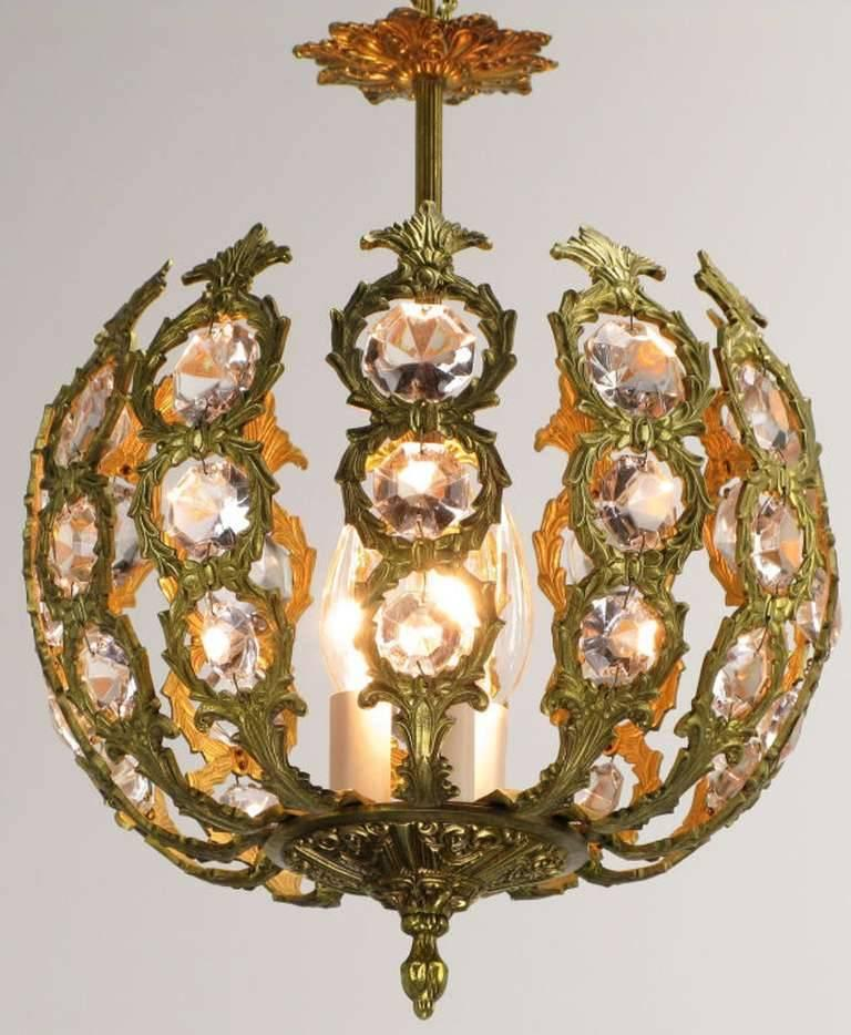 Regency Brass and Crystal Open Globe Pendant Light 3