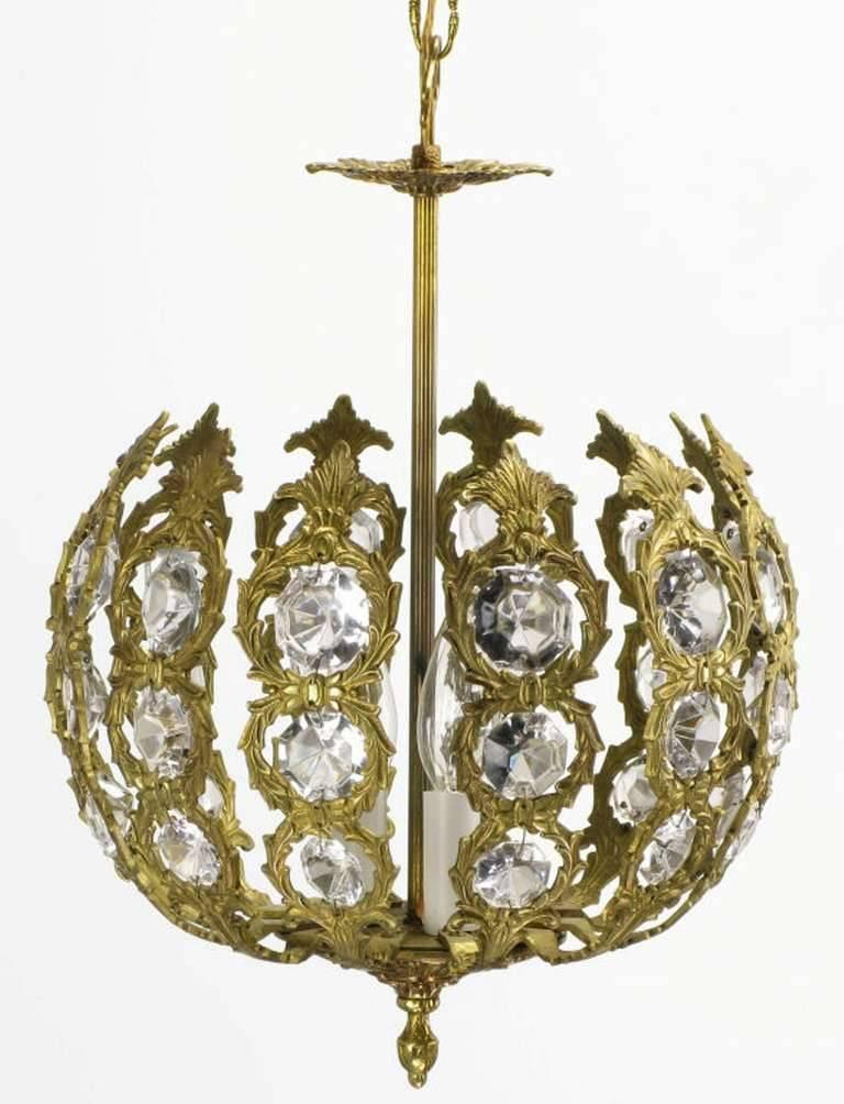 Regency Brass and Crystal Open Globe Pendant Light 5
