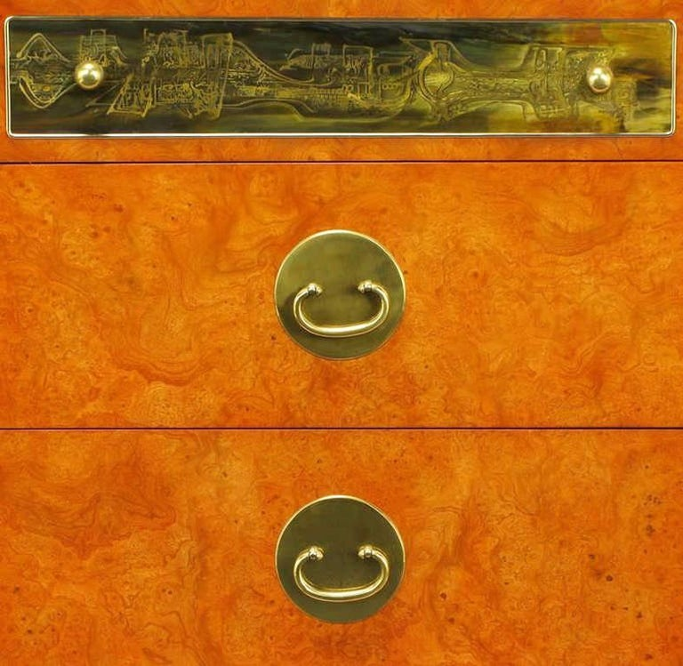 Late 20th Century Custom Mastercraft Amboyna Burl and Acid Etched Brass Dresser For Sale