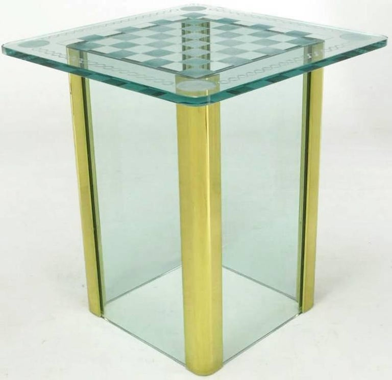 Glass top game table in the manner of Pace Collection. Features a wheel cut, etched 3/4