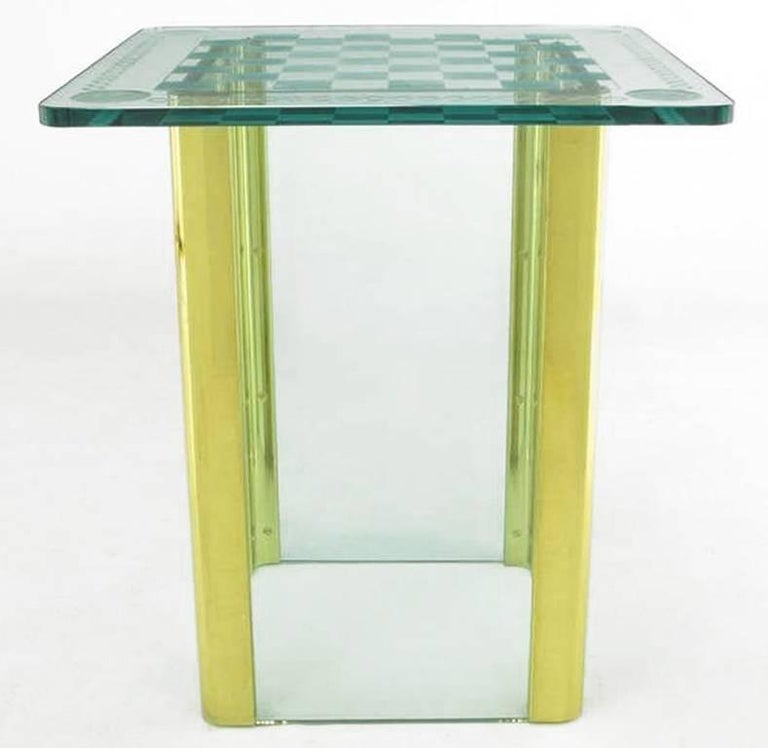 American Elegant Etched Glass Game Table in the Style of Pace Collection For Sale
