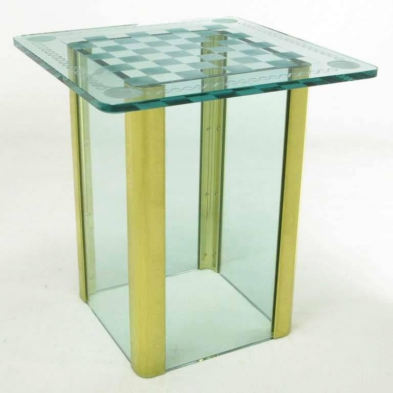 Elegant Etched Glass Game Table in the Style of Pace Collection In Excellent Condition For Sale In Chicago, IL