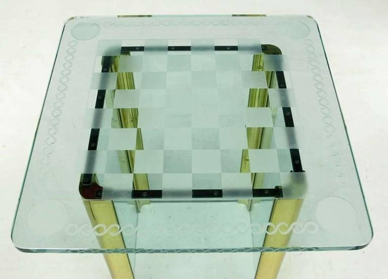 Brass Elegant Etched Glass Game Table in the Style of Pace Collection For Sale
