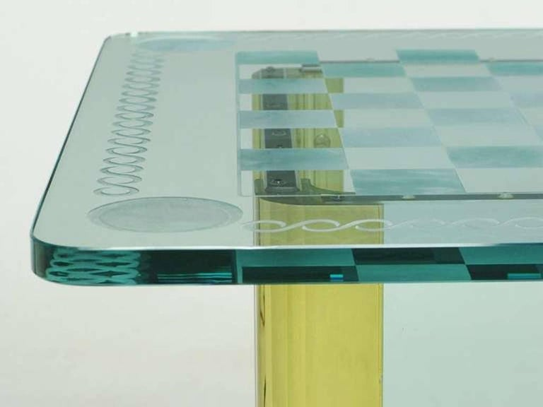 Elegant Etched Glass Game Table in the Style of Pace Collection For Sale 1