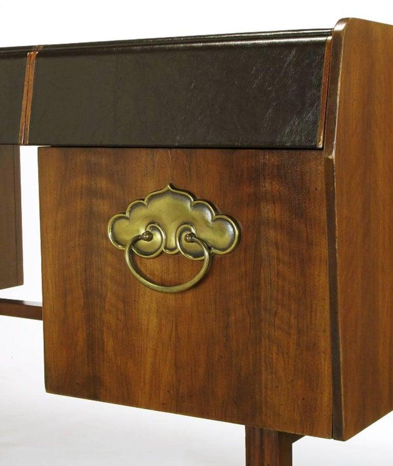 Bert England Persian Walnut and Leather Desk for John Widdicomb For Sale 1