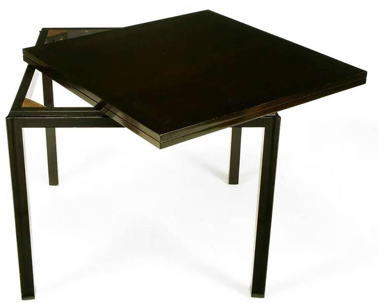 American Edward Wormley Ebonized Walnut Flip-Top Game Table For Sale