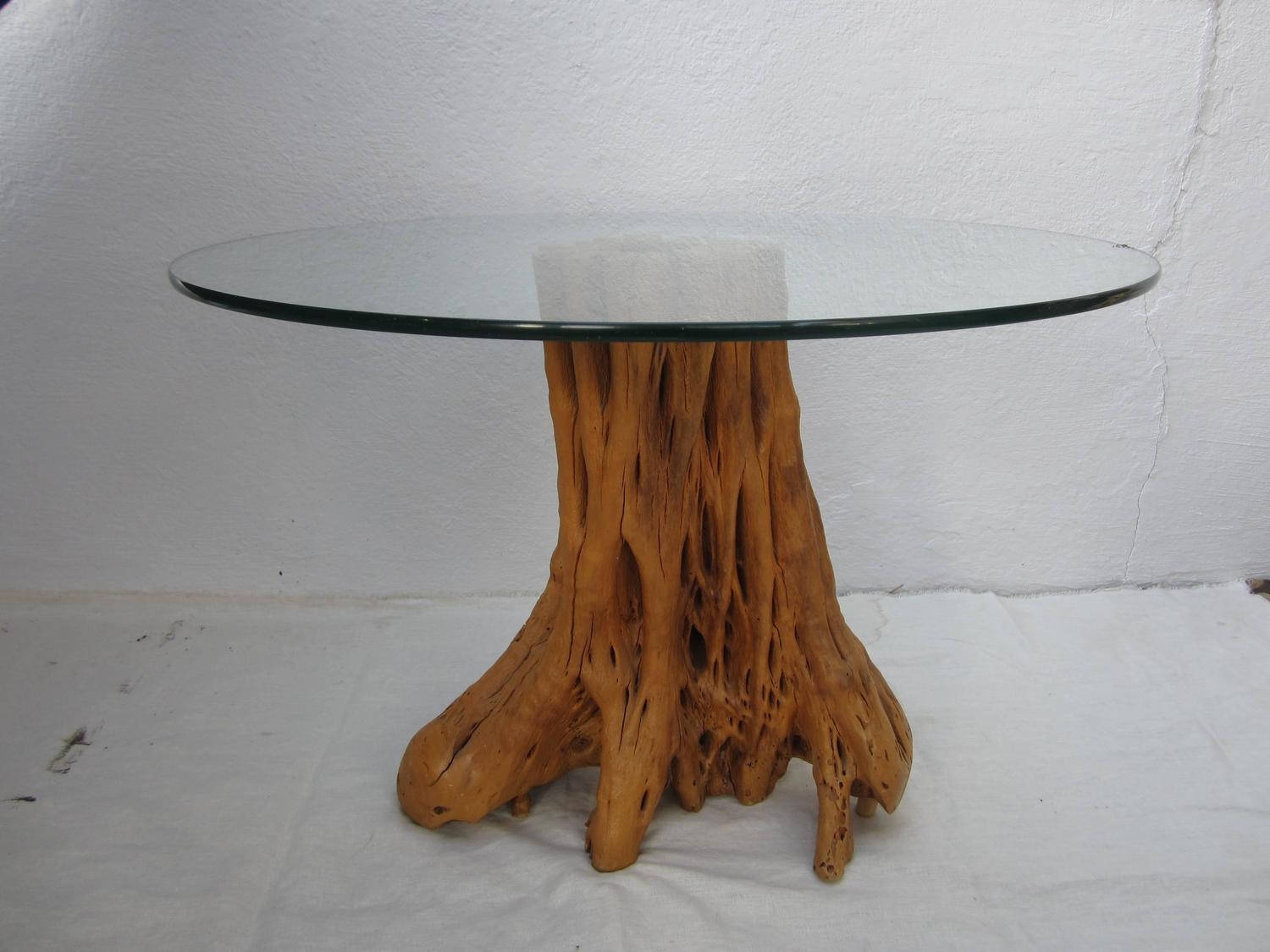 Tree trunk table base with glass top for sale at 1stdibs Tree trunk coffee table glass top