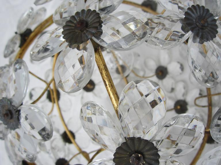 French Crystal Flower Ball Chandelier In Excellent Condition For Sale In Sag Harbor, NY