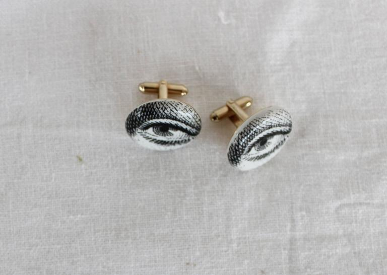 Very rare pair of Piero Fornasetti cufflinks. Italy, 1960s.
