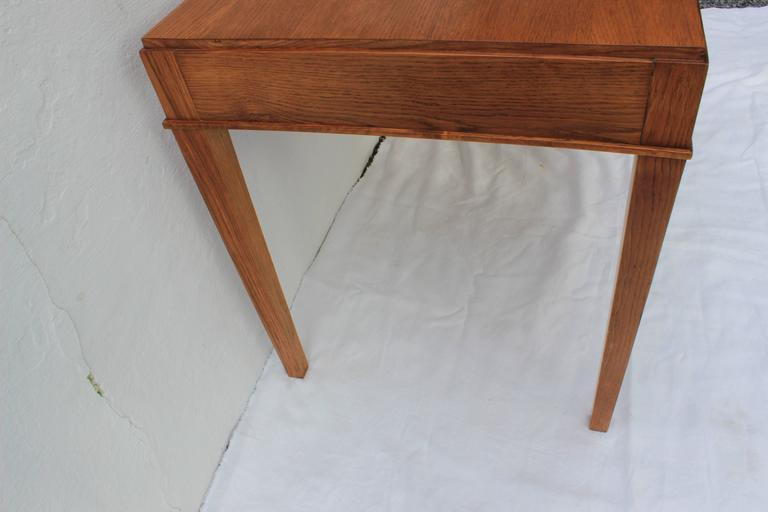French Jacques Adnet Oak Desk and Chair For Sale