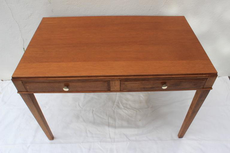 Mid-20th Century Jacques Adnet Oak Desk and Chair For Sale