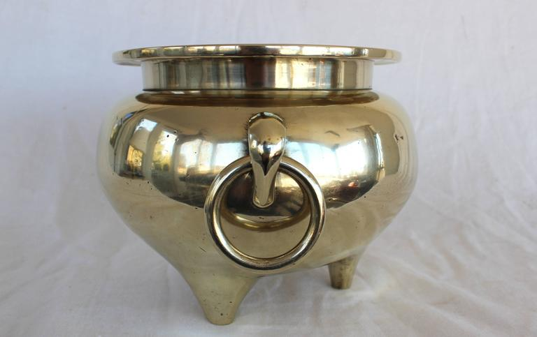 Chinese Solid Brass Cachepot In Excellent Condition For Sale In East Hampton, NY