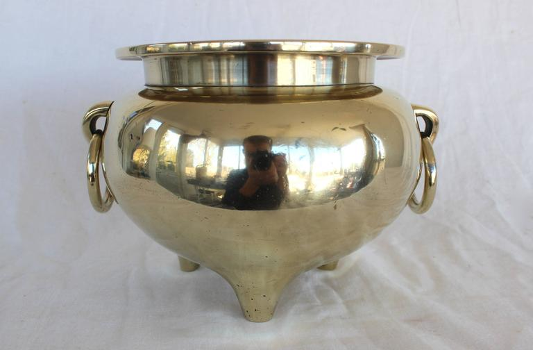 Substantial solid brass cachepot perfect for your beautiful orchid. 8.6 lbs.! Three legs with loose ring handles. Would look at home in both modern and traditional spaces.