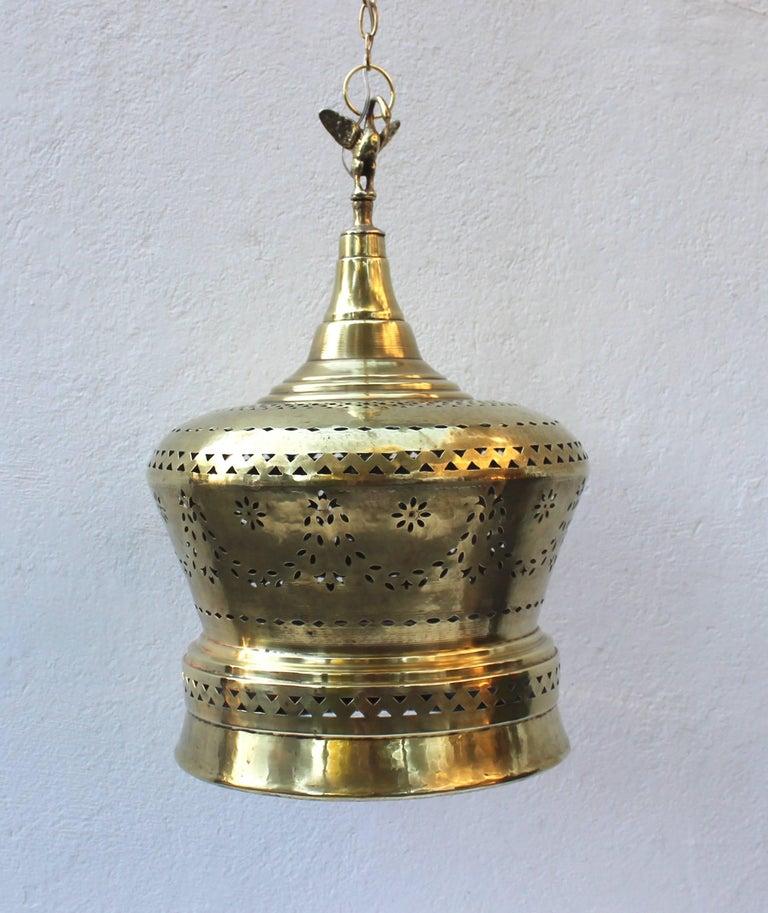 Moroccan Brass Light Pendant For Sale 5
