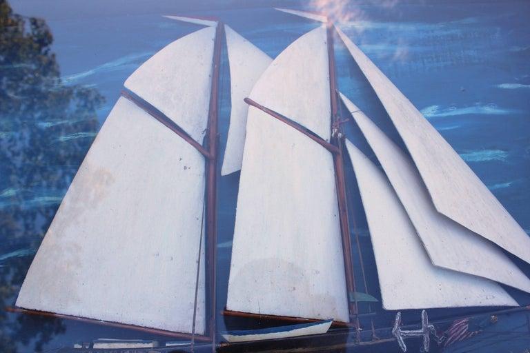 American schooner ship relief in shadow box of the