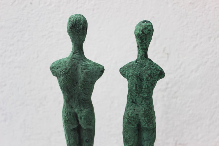 Pair of Patinated Bronze Giacometti Style Sculptures For Sale 2