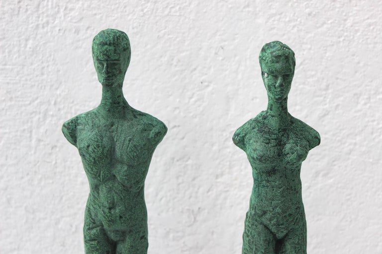 Pair of Patinated Bronze Giacometti Style Sculptures In Excellent Condition For Sale In Sag Harbor, NY
